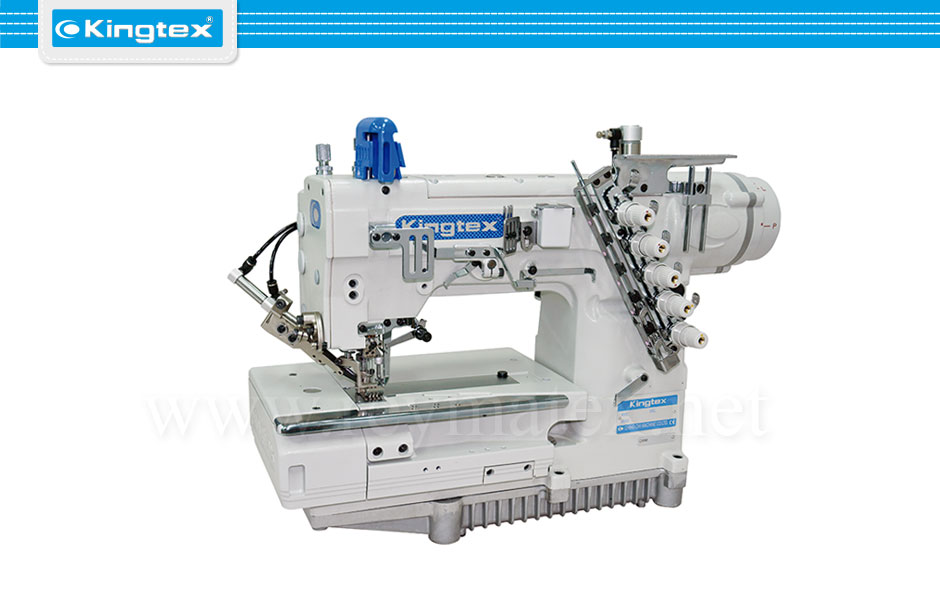 Maquina de coser recubridora de doble arrastre base plana industrial Kingtex. Sewing machine Interlock flat bed top feed. reymatex españa portugal france italia
