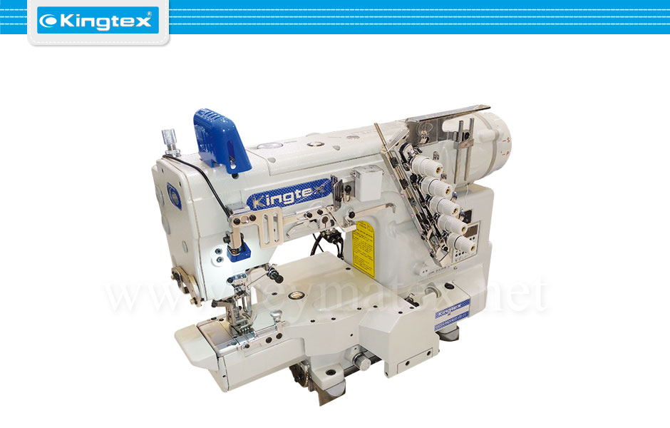 Maquina de coser recubridora boble arrastre de base cilíndrica industrial Kingtex. Sewing machine Interlock top feed cylinder bed. reymatex españa portugal france italia