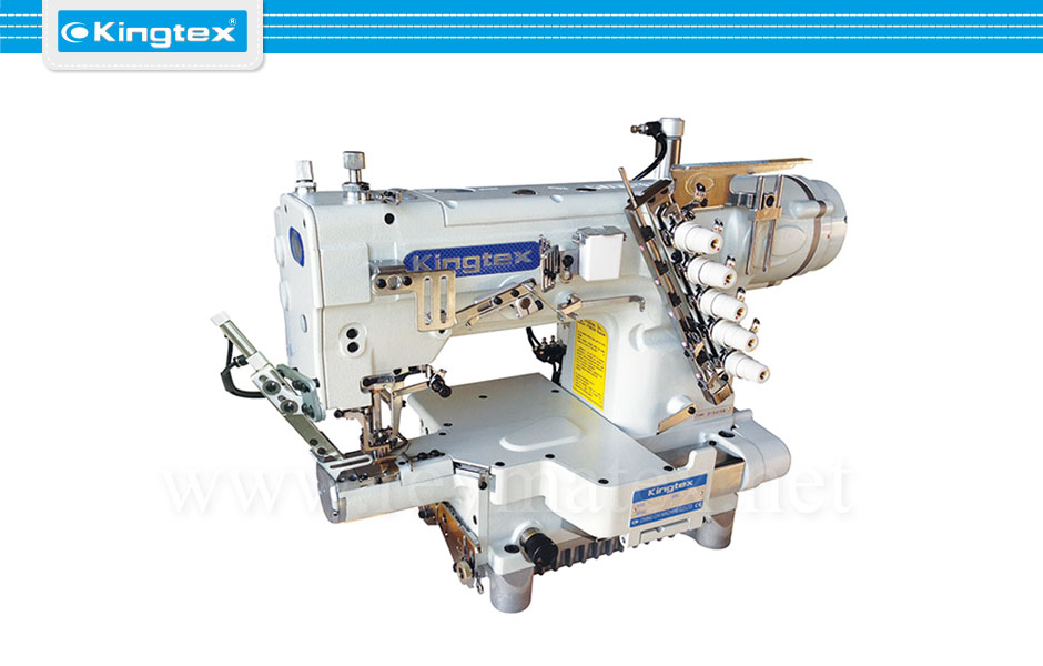 CTU-9713-0-356M/UCP-D1 Maquina de coser recubridora boble arrastre de base cilíndrica industrial Kingtex. Sewing machine Interlock top feed cylinder bed. reymatex españa portugal france italia