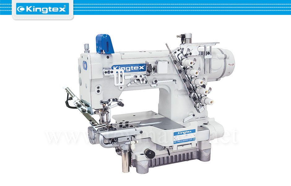 CTU-9811-0-356S1/UCP-FD/CV17A/TL Maquina de coser recubridora boble arrastre de base cilíndrica industrial Kingtex. Sewing machine Interlock top feed cylinder bed. reymatex españa portugal france italia