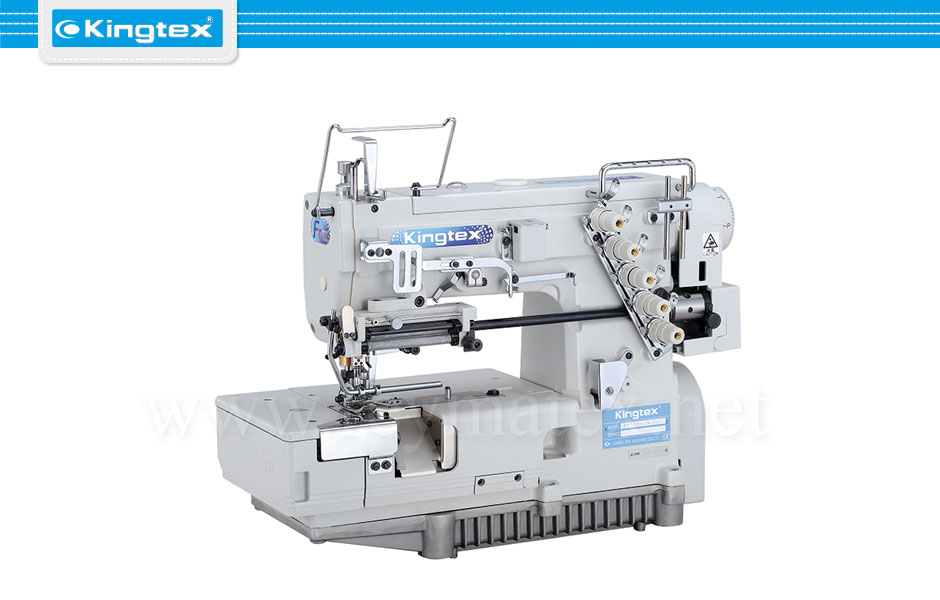 Maquina de coser recubridora de base plana para puntillas industrial Kingtex. Sewing machine Interlock flat bed right knife. reymatex españa portugal france italia