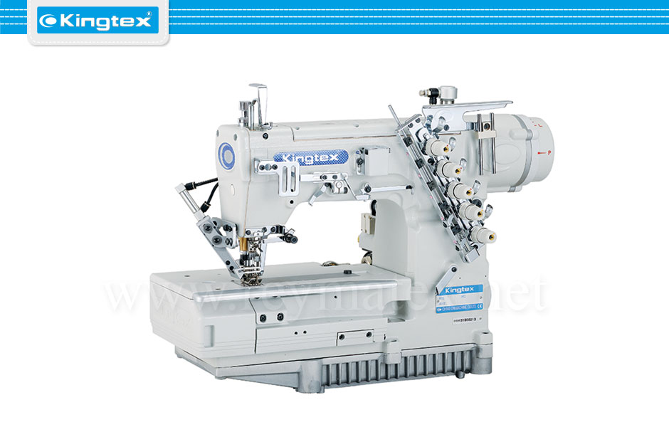 Maquina de coser recubridora de base plana industrial Kingtex. Sewing machine interlock flat bed. reymatex españa portugal france italia