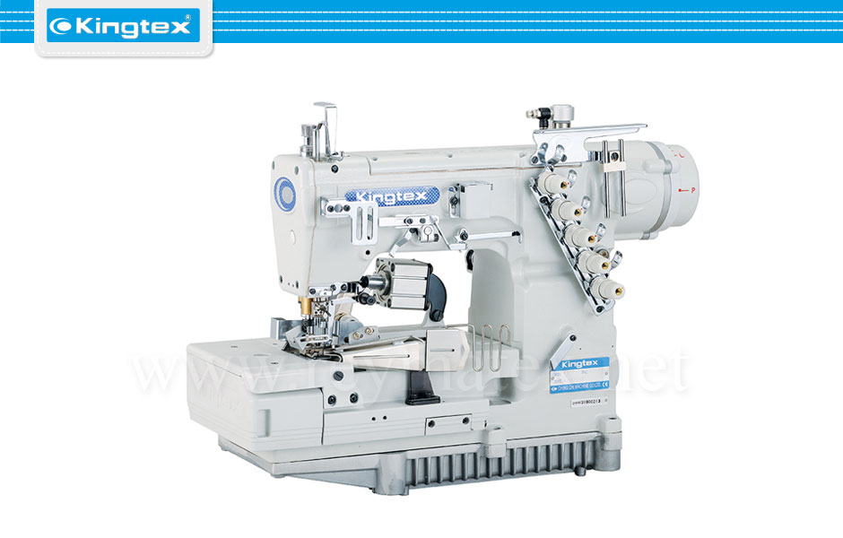 FTD-7003-0-356M Maquina de coser recubridora de collarines industrial Kingtex. Sewing machine Interlock flat bed tape binding. reymatex españa portugal france italia