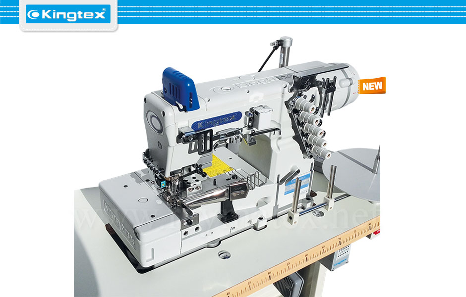 FTD-7003-0-356M/TC009/SE005/AL03B Maquina de coser recubridora de collarines industrial Kingtex. Sewing machine Interlock flat bed tape binding. reymatex españa portugal france italia.