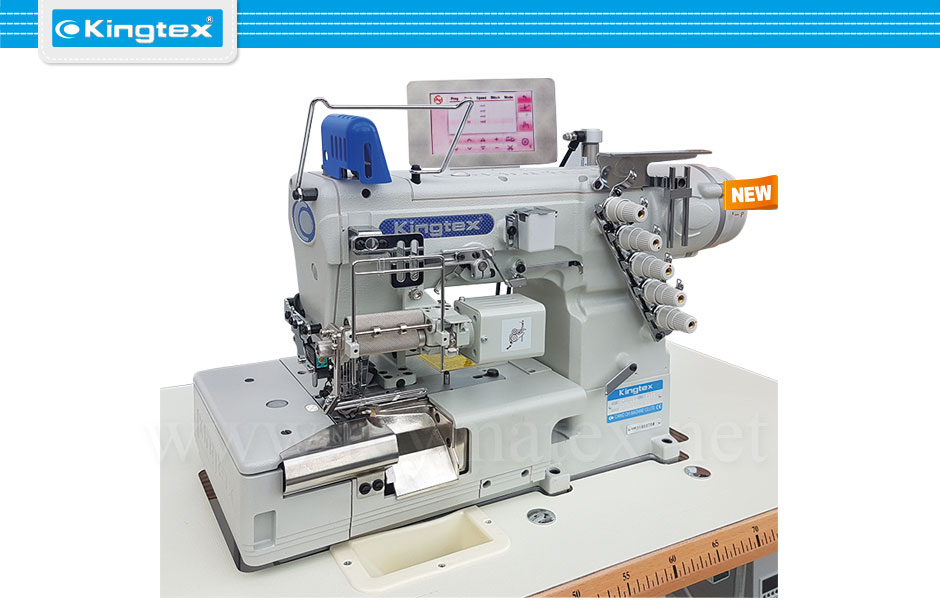 FTD-7069-3-356M/TC009/SE005/AL03B Maquina de coser recubridora de base plana de puntillas industrial Kingtex. Sewing machine Interlock flat bed right knife. reymatex españa portugal france italia