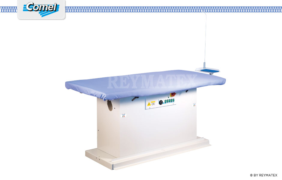 MP/A+ASP 180X90 Rectangular Universal industrial ironing table with fan for steam suction function. Mesa de planchado de uso industrial de plato 180x90 cm equipada con plato aspirante.