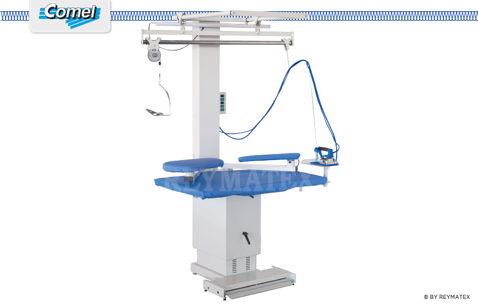MP/A SR Rectangular universal ironing table with fan for steam suction and blowing functions. Mesa de planchar rectangular regulable en altura con aspiración y soplado.