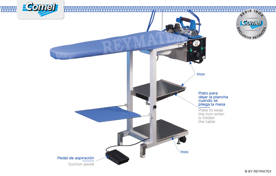 COMELUX-C / COMELUX-C-S. Universal semi industrial ironing table Comel. Mesa de plancha semi industrial universal Comel.