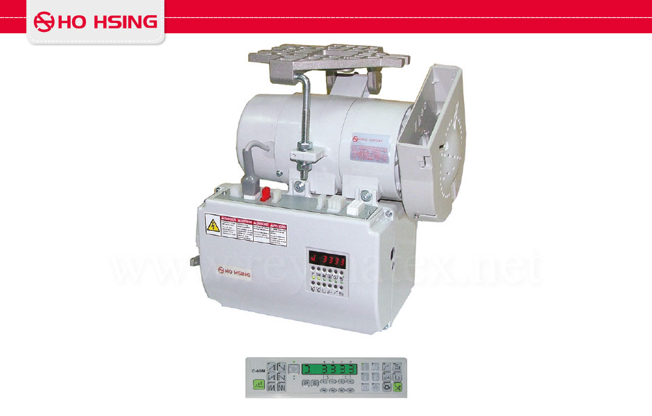i-90M-4BR-220CE/C-60M 0A7552G Servo motor with signals for thread trimmer, backtacking, wiper, presser foot lifter. Includes external synchronizer and panel. Universal type 550w for any kind of sewing machine such as overlock, interlock with thread trimmer, 1 and 2 needle lockstitch, etc. i-90M-4BR-220CE/C-60M 0A7552G Motor servo de 550w de potencia con señales de cortahilos, remates, alzaprensatelas y retirahilos. Incluye sincronizador exterior y programador C-60M. Adaptable a múltiples tipos de máquinas tales como recubridoras con cortahilos, pespunte, overlock, 1 y 2 agujas de pespunte, etc. 795€ Sincronizador externo para i-90-4-220CE.