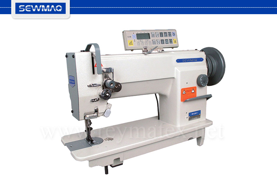 SW-206H-7 Sewmaq lockstitch, compound feed with thread trimmer machine. Reymatex españa portugal france italia. Máquina de coser industrial de pespunte, de triple arrastre con cortahilos.