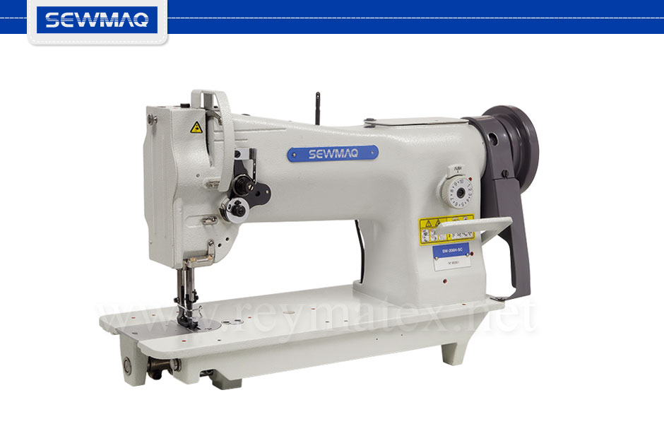 SW-206H-SC Sewmaq lockstitch, compound feed machine. Reymatex españa portugal france italia. Máquina de coser industrial de pespunte, de triple arrastre.