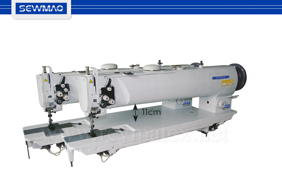 "4510H-25"" - 4520H-25"" Sewmaq lockstitch, long arm compound feed machine. Reymatex españa portugal france italia. Máquina de coser industrial de pespunte, de triple arrastre y puente largo."