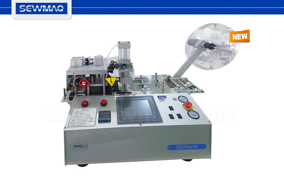 SW-150TC-S 0B5104 Cutting machine for zippers, cords, belts, etc. The cutting size can be programmed from 20 to 9.999 mm, the width is 10 cm. High size cutting precision. Cold and hot cutting from 0 to 300ºC. Equipped with sensor for printed labels. Cutting straight and inclined with turning programmable left and right side knife and punching attachment for making round holes with diameter from 2 to 5mm. Sewmaq Reymatex