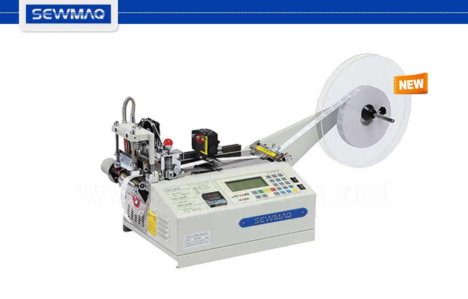SW-201TC/S Continuous cutting machine for zippers, tape, etc. The cutting length can be programmed from 0 to 9.999 mm. Maximum tape width: 11cm. Cutting in cold or heated knife (0º to 200º). Equipped with reader sensor to cut printed labels. Sewmaq Reymatex