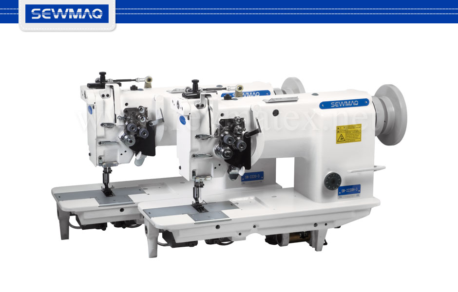 SW-2220-3 SW-2220H-3 Flat bed 2 needles lockstitch needle feed transport sewing machine / Máquina coser pespunte de 2 agujas desembragables de transporte por aguja y diente