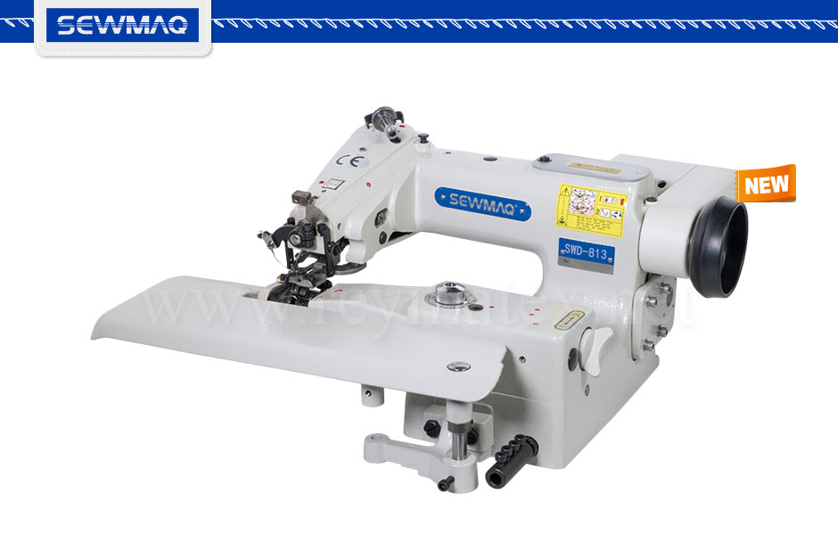 SWD-813 Máquina de puntada invisible especial para géneros finos tales como vestidos de boda, etc. Equipada con 36 puntos de anclaje de regulación de la puntada. SWD-813 Direct drive industrial use blindstitch sewing machine for extremely light material such as wedding dress fabrics. With 36 different points of stitch regulation