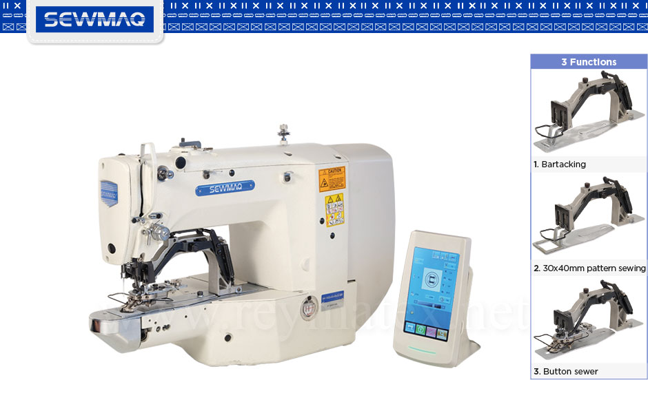 SW-1900A-3F Bartacking+button sewer+40x30mm pattern sewing machine. Máquina de presillas + botones + campo de 40x30 mm- France Machine à coudre - Italia macchina da cucire - Deutschland Nähmaschine- españa portugal