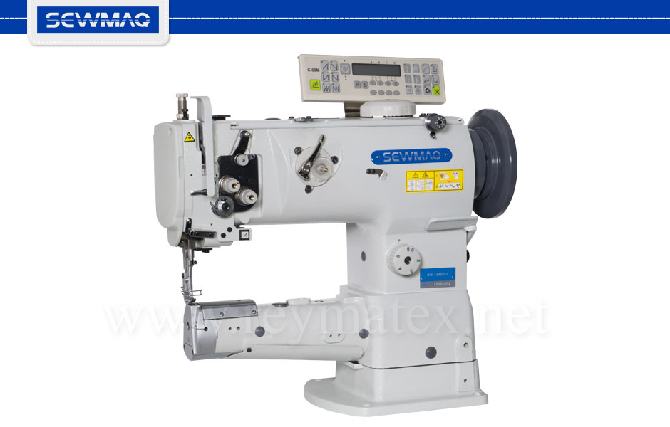 SW-1342H-7 Sewmaq lockstitch - cylinder bed compound feed machine with tread trimmer. Reymatex españa portugal france italia. Máquina de coser industrial de pespunte, de triple arrastre base cilíndrica con cortahilos.