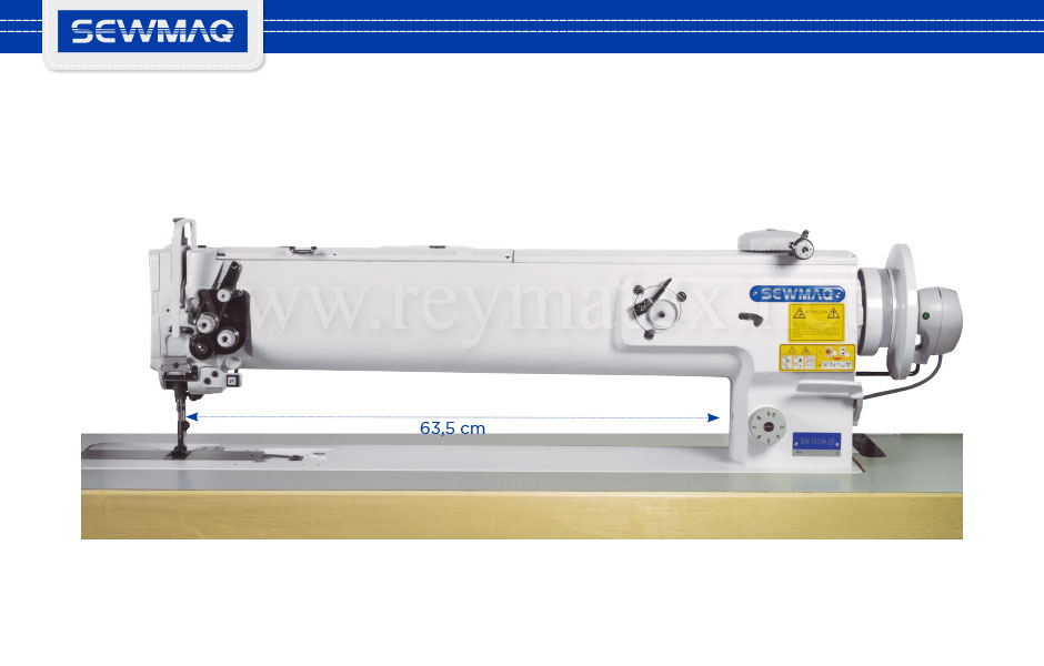 "SW-1510H-25""/FL SW-1520H-25""/FL Sewmaq lockstitch, long arm compound feed machine. Reymatex españa portugal france italia. Máquina de coser industrial de pespunte, de triple arrastre y puente largo."