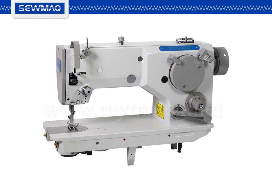 SW-1566H Single needle large hook zig-zag sewing machine. Maximum zig-zag width 10mm, maximum sewing speed 3500 SPM. Máquina de zig zag industrial, 3.500 PPM. Equipada con garfio de gran capacidad.