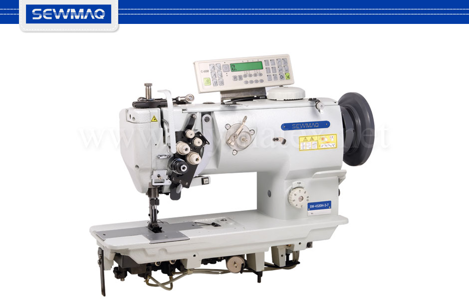 SW-4520H-3-7 Sewmaq lockstitch, compound feed with thread trimmer machine. Reymatex españa portugal france italia. Máquina de coser industrial de pespunte, de triple arrastre con cortahilos.