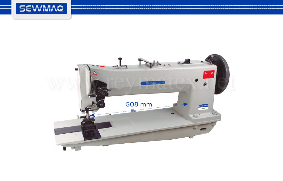 "SW-4610H-20""/BT/FL 0A7643E Single needle 20"" long arm (508 mm) compound feed sewing machine for extra-heavy materials with extra large hook. Equipped with pneumatic backtacking and presser foot lifter, Ho Hsing servo motor of 1 HP power. Height of presser foot 28 mm, stitch length 10 mm."