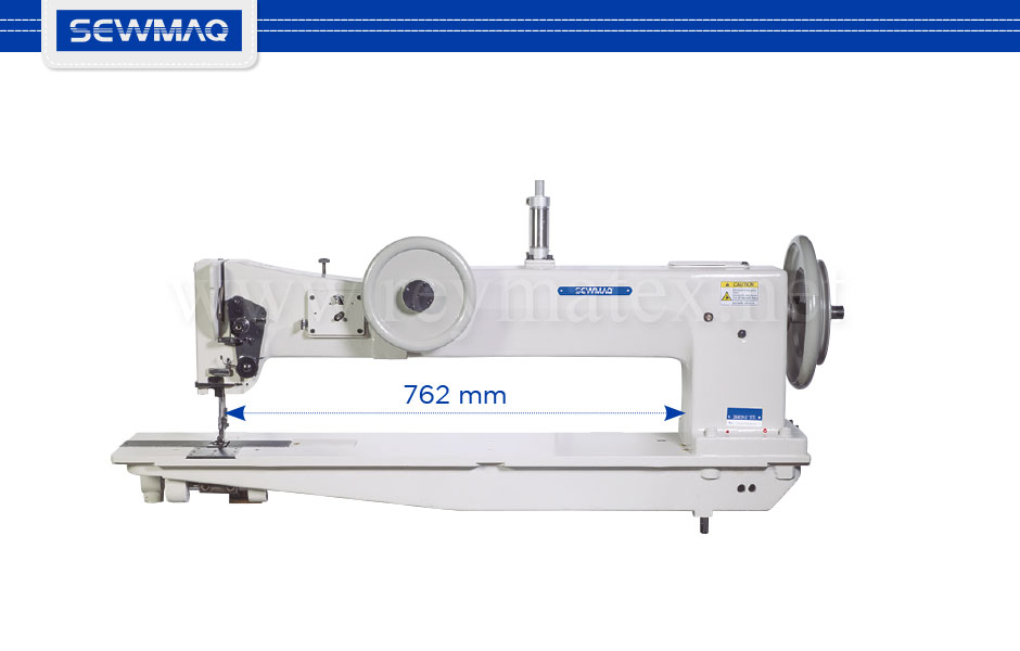 "SW-4610H-30""/BT/FL SW-4620H-30""/BT/FL Single needle 20"" long arm (508 mm) compound feed sewing machine for extra-heavy materials with extra large hook. Equipped with pneumatic backtacking and presser foot lifter, Ho Hsing servo motor of 1 HP power. Height of presser foot 28 mm, stitch length 10 mm."