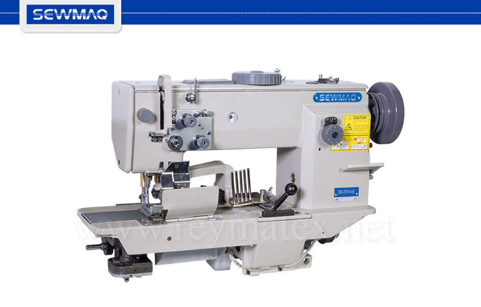 SW-767H-AE Sewmaq lockstitch, compound feed with thread trimmer machine. Reymatex españa portugal france italia. Máquina de coser industrial de pespunte, de triple arrastre con cortahilos.