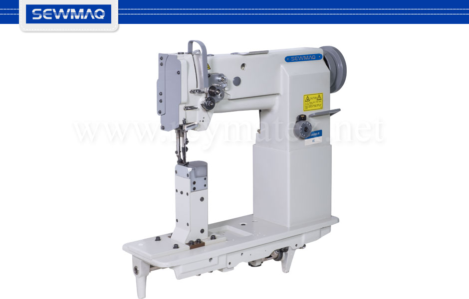 SW-8410H - Sewmaq lockstitch - Post bed compound feed machine. Reymatex españa portugal france italia. Máquina de coser industrial de pespunte, de columna y triple arrastre.