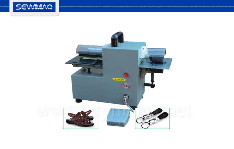 SW-303CT Máquina portátil de para cortar tiras estrechas de piel. Ancho máximo 4 pulgadas. Small portable leather bands cutting machine. Maximum width 4 inches.