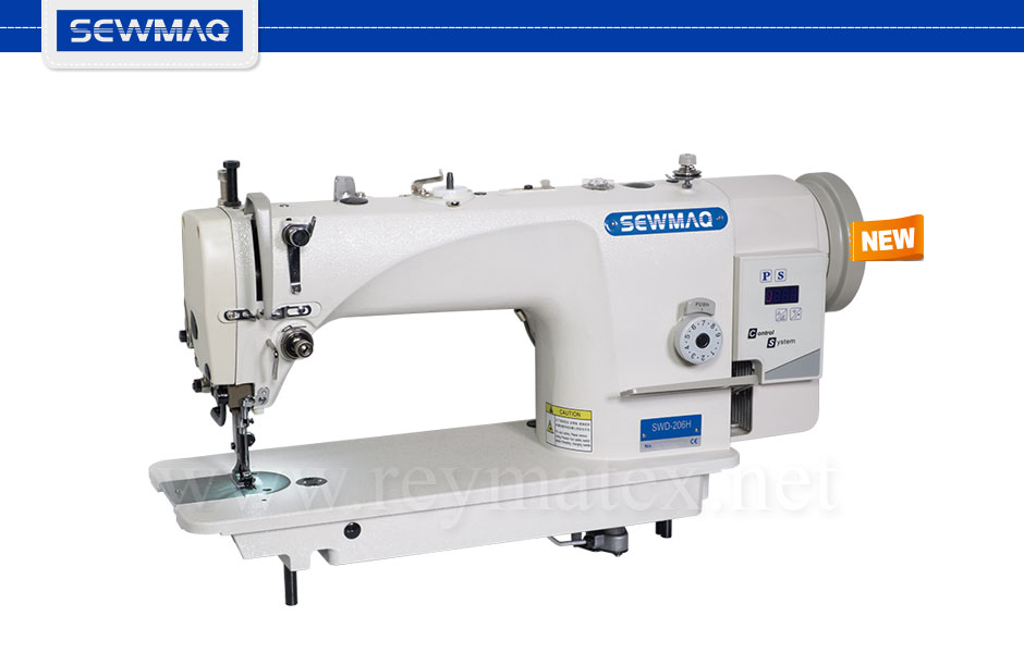 SWD-206H Sewmaq lockstitch, compound feed machine. Reymatex españa portugal france italia. Máquina de coser industrial de pespunte, de triple arrastre.