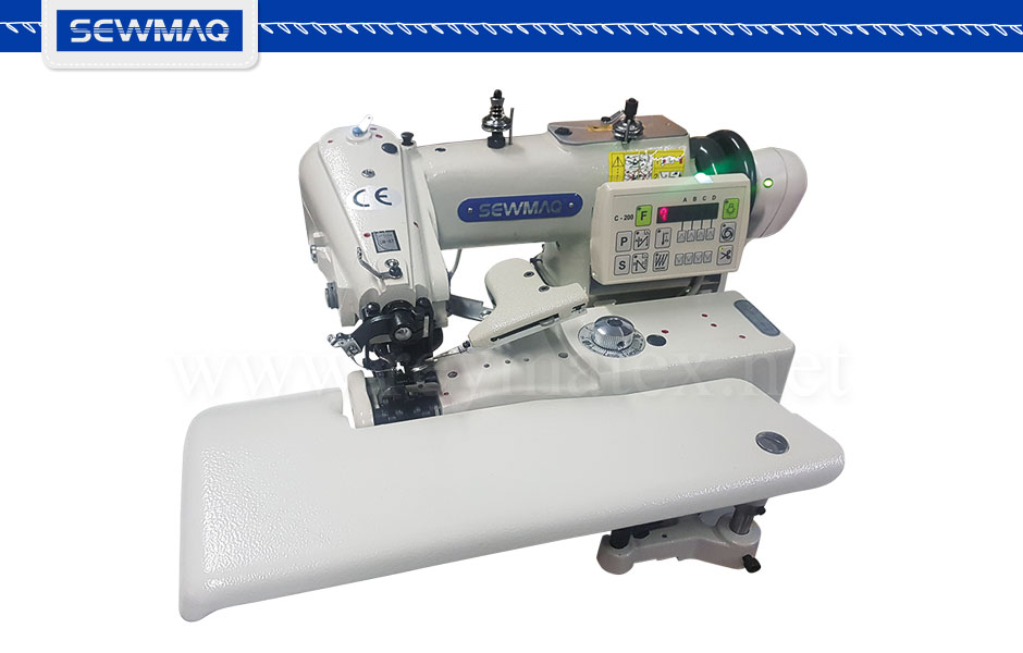 SW-101-M7 Máquina de puntada invisible industrial para géneros medios equipada con motor servo Ho Hsing, cortahilos yalzaprensatelas electrónicos. SW-101-M7 Industrial blindstitch sewing machine for medium materials equipped with servo motor, electronic thread trimmer and presser foot lifter.