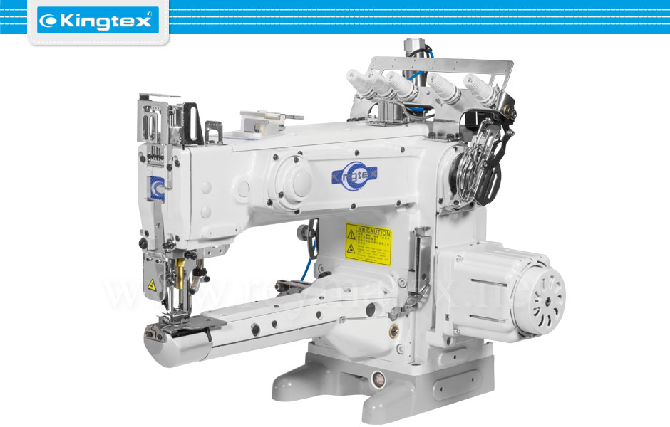 VLD-1513-0-356M/UVP-X1 Cylinder bed interlock machine long arm for stitching covering and hemming small tubular works such as knitwear and sport wear. Upper and lower covering threads. Equipped with 3 needles, 5.6 mm, direct drive servo motor, upper and lower pneumatic thread trimmers and pneumatic presser foot lifter. VLD-1513-0-356M/UVP-X1 Máquina de recubrir cilíndrica de costura frontal de brazo largo para la costura y sobrecarga de todo tipo de prendas de punto tubulares tales como prendas deportivas. Recubrimiento superior e inferior. Equipada con 3 agujas, 5,6 mm, motor servo en el cabezal, cortahilos superior e inferior neumáticos y alza prensatelas neumático.